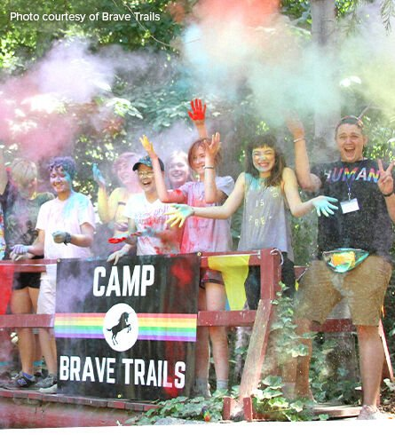 A youth group having fun at summer camp. Caption: photo courtesy of Brave Trails. 1/3 of profits for Grassroots Good.