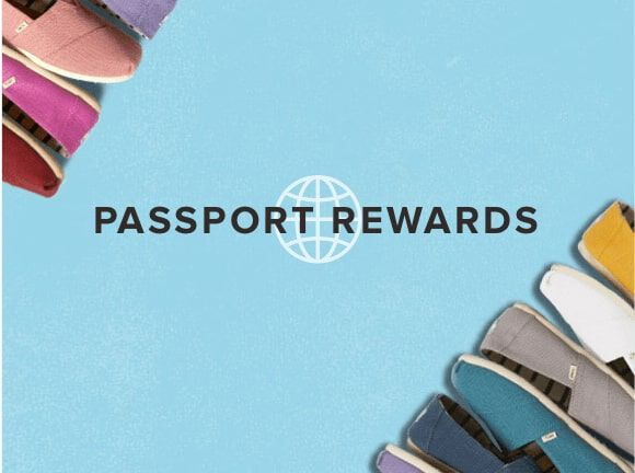 Passport rewards banner with pastel tone shoes as a border decoration