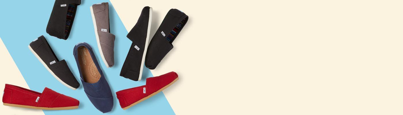 navy, black and red classic alpargatas from TOMS