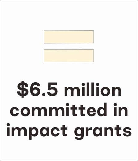 TOMS graphic illustration. $6.5 million committed in impact grants.